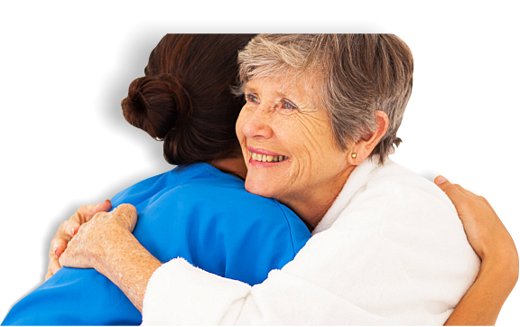 Nurse hugging a senior